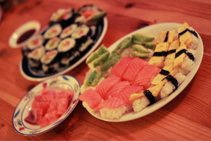 "A picture of sushi and our secret :"")"
