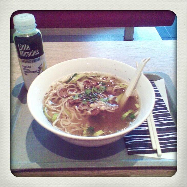 Pho and another bottle of Little Miracles (can't really see from the picture but it's green! : D)