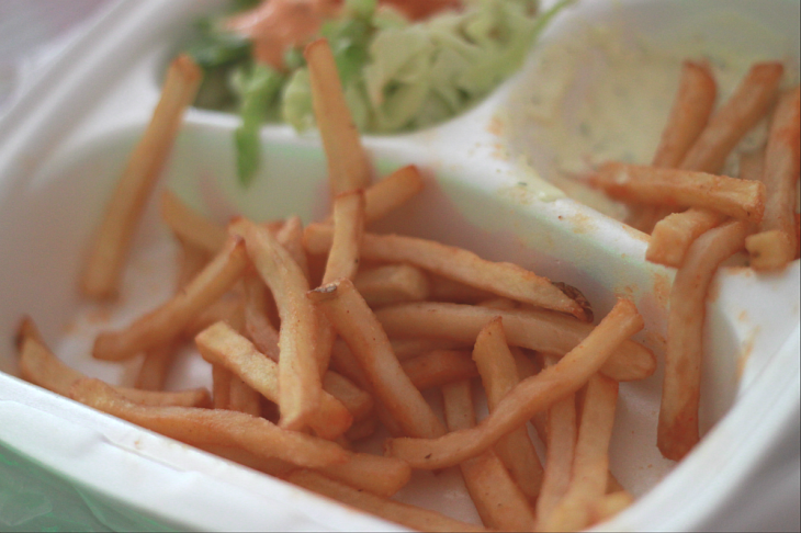 "I was supposed to take picture of the chicken wings, but I had finished them all before I remembered about it, so here comes the french fries and salad box :"")"