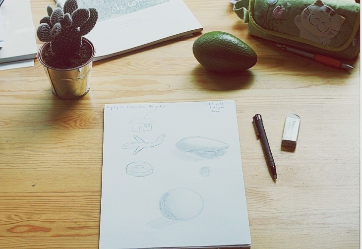 There's the avocado I based on to draw (unrecognizable on the paper I drew, of course...) and the cactus pot I used to get the circle. : p