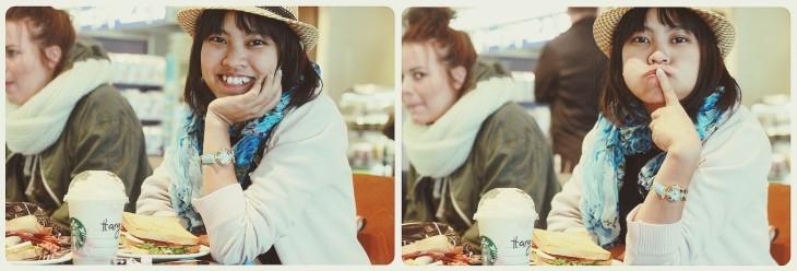 Hằng + smiles + đồng hồ mua từ Venice + cốc Starbucks có ghi tên Hằng ^^